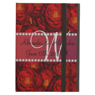 結婚式のモノグラムの赤いバラ iPad AIRケース