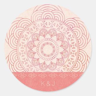 結婚式のモノグラムのBohoのシックな曼荼羅のデザイン ラウンドシール
