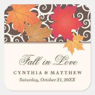 結婚式のモノグラム|の紅葉は恋に落ちます スクエアシール