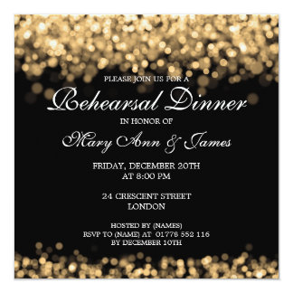結婚式のリハーサルの夕食の金ゴールドライト カード