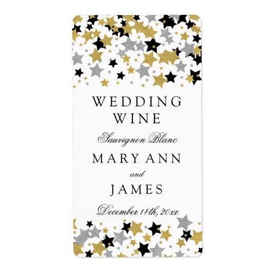 結婚式のワインのラベルの金ゴールドのグリッターは紙吹雪を主演します ラベル