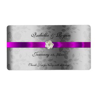 結婚式のワイン水ラベルの紫色のリボン及び花 ラベル