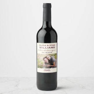 結婚式のワイン の名前入りな写真の好意 ワインラベル