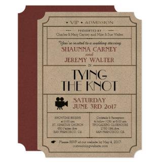 結婚式のヴィンテージのチケットの招待/映画館のフィルムのテーマ カード