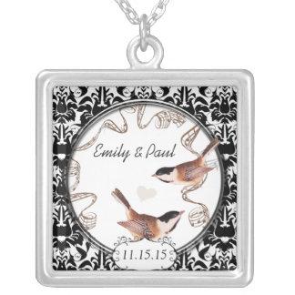 結婚式のヴィンテージの《鳥》アメリカゴガラ記念日のネックレス シルバープレートネックレス
