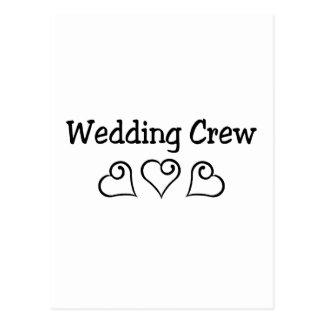 結婚式の乗組員の黒のハート ポストカード