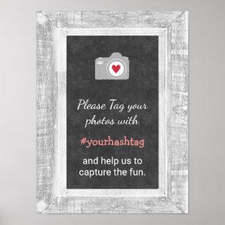 結婚式の写真のInstagram社会的な媒体のHashtagの印 ポスター