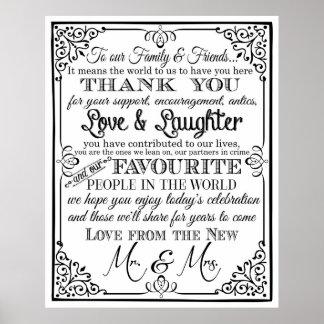 結婚式の印の黒く及び白い黒板イギリスありがとう ポスター