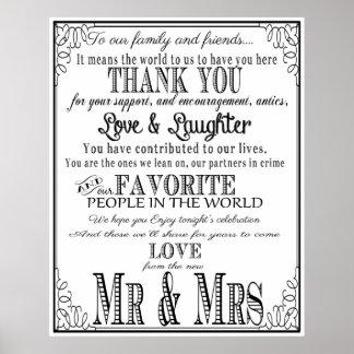 結婚式の印の黒及び白ありがとう ポスター