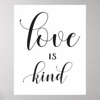 結婚式の印- 1 Corinthians 13 -は愛親切です ポスター
