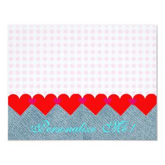 結婚式の国の花嫁のピンクのモダンなハートのデニム カード