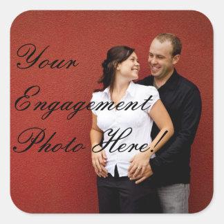 結婚式の婚約の写真のステッカーの正方形 スクエアシール