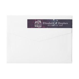 結婚式の宛名ラベルのシックなメーソンジャーの紫色ライト ラップアラウンドラベル