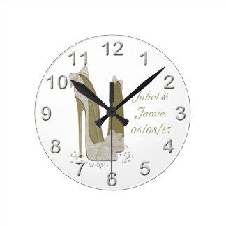 結婚式の小剣は芸術のギフトに蹄鉄を打ちます ラウンド壁時計