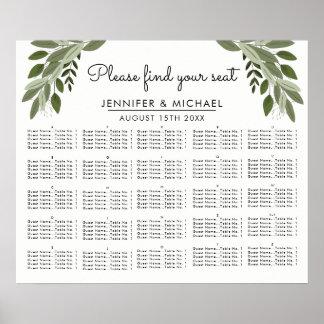 結婚式の小枝-アルファベットの座席の図表 ポスター