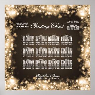 結婚式の座席の図表きらめくなライト金ゴールド ポスター