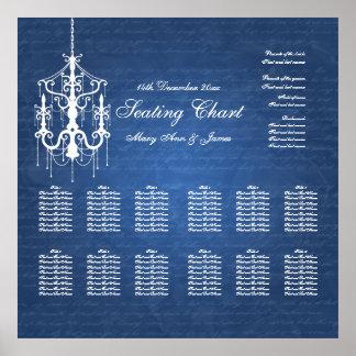 結婚式の座席の図表のシャンデリアの青 ポスター
