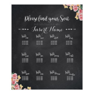 結婚式の座席の図表|の黒板の花柄 ポスター