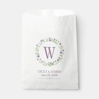 結婚式の引き出物のバッグ|の紫色の花のリース フェイバーバッグ