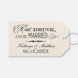 結婚式の引き出物のラベルは|飲み物を食べ、結婚したです ギフトタグパック