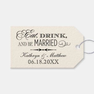 結婚式の引き出物のラベルは|飲み物を食べ、結婚したです ギフトタグ