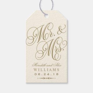 結婚式の引き出物のラベル|の象牙色の金ゴールドのモノグラム ギフトタグパック