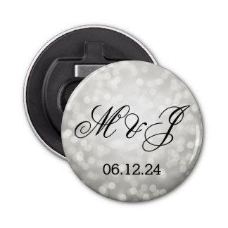 結婚式の引き出物の銀のグリッターライト 栓抜き