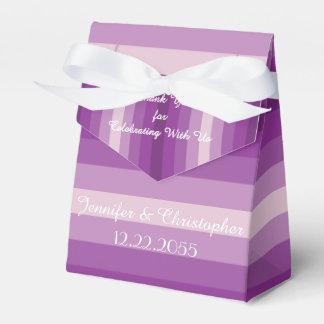 結婚式の引き出物箱、紫色のストライプ フェイバーボックス