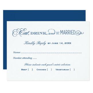 結婚式の応答カード 濃紺 カード
