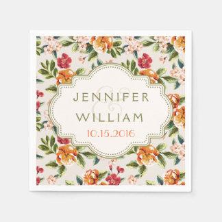 結婚式の披露宴のエレガントなヴィンテージの花柄 スタンダードカクテルナプキン