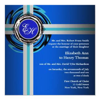 結婚式の招待状の青い銀製のエンボス カード