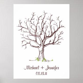 結婚式の指紋の木ポスター(ブラウン) ポスター