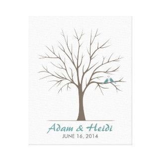 結婚式の指紋の木-クラシックな愛鳥 キャンバスプリント