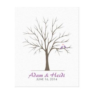 結婚式の指紋の木-愛鳥-紫色 キャンバスプリント
