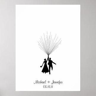結婚式の指紋の気球のゲストブック プリント