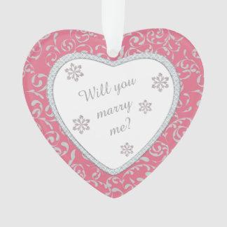 結婚式の提案のピンクのダマスク織ののどのダイヤモンド オーナメント