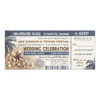 結婚式の搭乗券のチケット 10.2 X 23.5 インビテーションカード