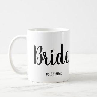 結婚式の日付との花嫁のマグの白 コーヒーマグカップ