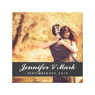 結婚式の日付のキャンバス のカップルの写真 キャンバスプリント