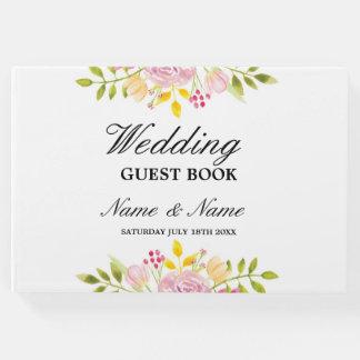 結婚式の来客名簿のピンクの花柄の披露宴 ゲストブック