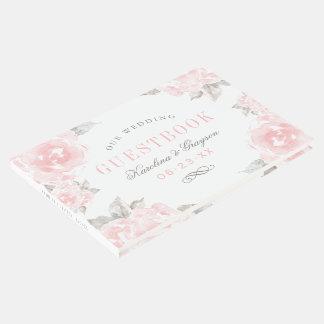 結婚式の来客名簿|のピンクの水彩画のバラ ゲストブック