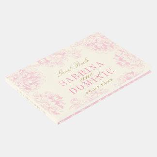 結婚式の来客名簿|のピンクの花のシャクヤク ゲストブック