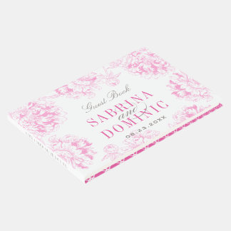 結婚式の来客名簿|の赤紫のピンクの花のシャクヤク ゲストブック