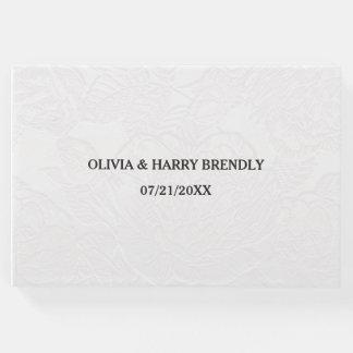 結婚式の来客名簿-エレガントで白い花柄 ゲストブック