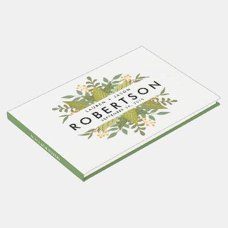 結婚式の来客名簿、Bohoの花柄、庭園の結婚式 ゲストブック