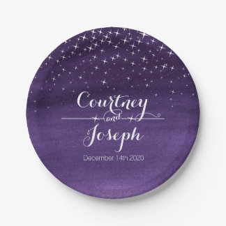 結婚式の水彩画の星明かりの夜紙皿 ペーパープレート