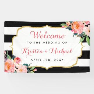 結婚式の水彩画の花の白黒のストライプ 横断幕