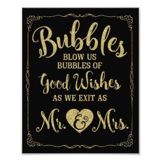 結婚式の泡印の結婚式ポスター、金ゴールドの結婚 フォトプリント