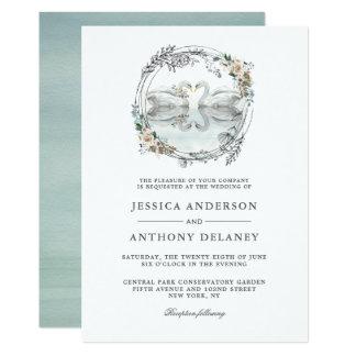 結婚式の白鳥のエレガントな水彩画の花柄 カード