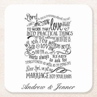 結婚式の祈りの言葉の名前入りな好意の結婚式のコースター スクエアペーパーコースター